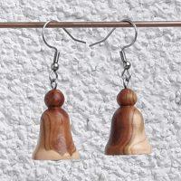 Ohranhänger Glöckchen aus Marillenholz, 17 x 20 mm