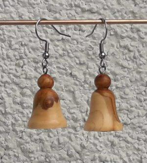 Ohranhänger Glöckchen aus Marillenholz