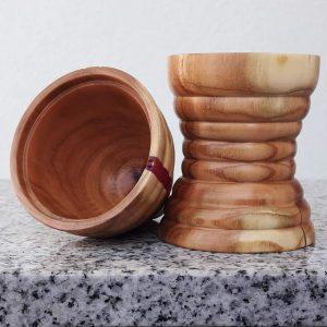 Eierbecher mit Warmhaltekappe aus Pfirsichholz 7 x 14 cm