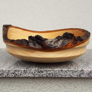 Schale mit Rindenrand aus Kirschholz 25 x 9,5 cm