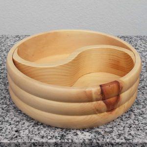 Schale Yin Yang aus Zirbenholz konvex 15 x 5 cm